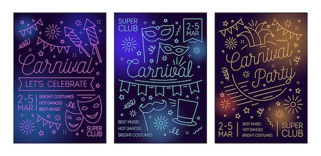 Set di poster per ballo in maschera, carnevale, festa in maschera, spettacolo festivo con maschere, cappelli, fuochi d'artificio disegnati con linee
