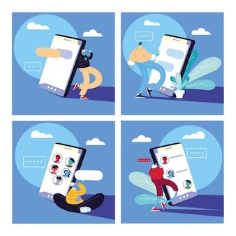 Set di poster con uomini e smartphone in chat