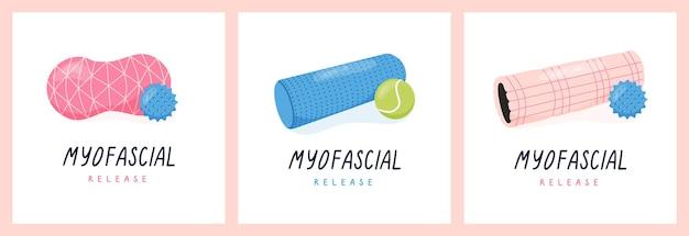 Set di poster con esercizi di rilascio miofasciale o rullo in schiuma pilates e sfera trigger point