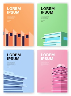 Set di manifesti. sfondi con architettura astratta. cartello verticale con posto per il testo. illustrazione vettoriale colorato.