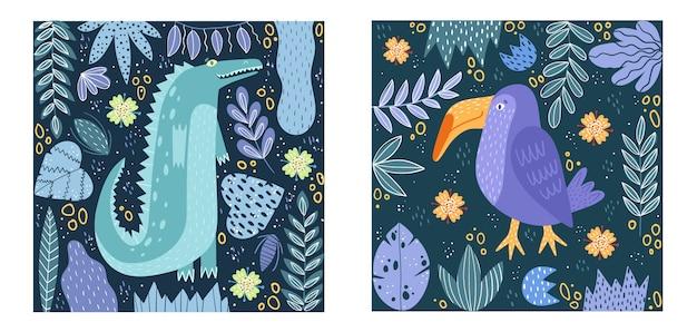 Set di poster. poster di coccodrillo e uccello.