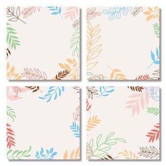 Set di poster con elementi di piante e forme astratte sfondo astratto