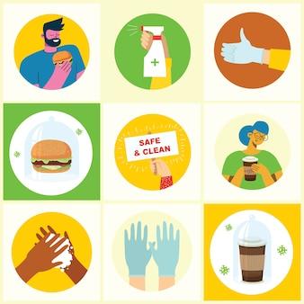 Serie di poster con le mani lavate pulite. pasto protetto dai virus. insieme dell'illustrazione di scopo sanitario. illustrazione in moderno stile piatto. concetto di protezione da virus corona. assistenza sanitaria.