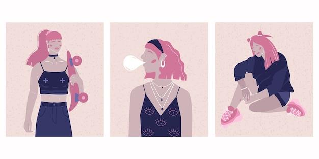 Una serie di poster con l'immagine di donne arroganti. donne alla moda in stile retrò con accenti luminosi.