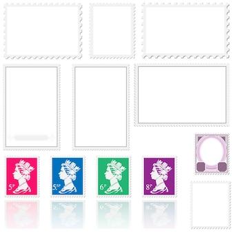 Set di modelli di timbro postale con francobolli della regina