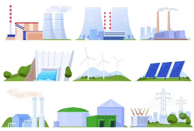 Insieme di centrali elettriche di diversi tipi