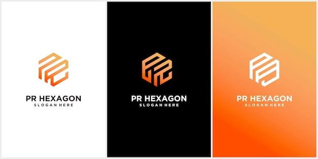 Set di modelli di logo esagonale pr