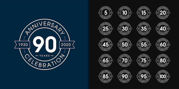 Set di logo anniversario premium.
