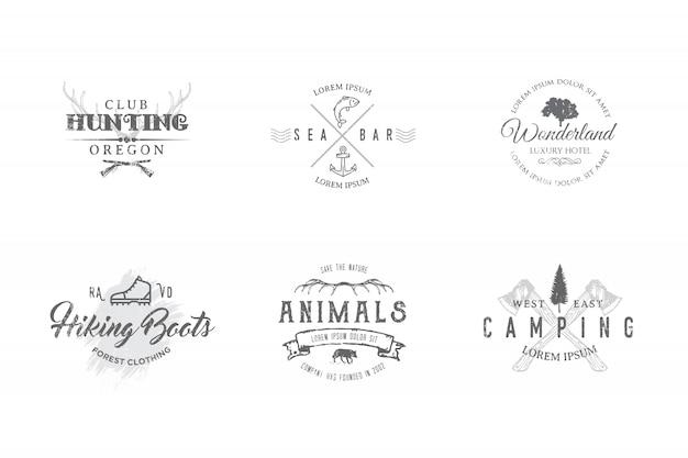 Set di etichette premium sui temi della fauna selvatica, natura, caccia, viaggi, natura selvaggia, arrampicata, campeggio, vita in montagna,