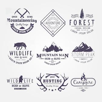 Set di etichette premium sui temi della fauna selvatica