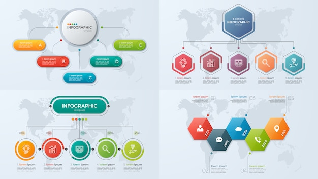 Set di modelli di infografica di presentazione aziendale con 5 opzioni