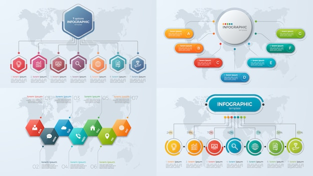 Set di modelli di infografica di presentazione aziendale con 7 opzioni