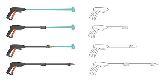 Impostare l'immagine vettoriale elettrica della macchina dell'idropulitrice a pressione colorata e contorno