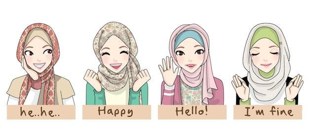 Set di bella ragazza hijab con espressione diversa