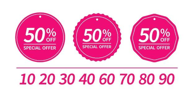 Set di cartellini dei prezzi di vendita di forma rotonda con design adesivi di testo.