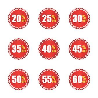 Set di cartellino del prezzo e modello di progettazione del logo di sconto
