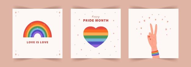 Set di sfondi del mese dell'orgoglio. parata gay.