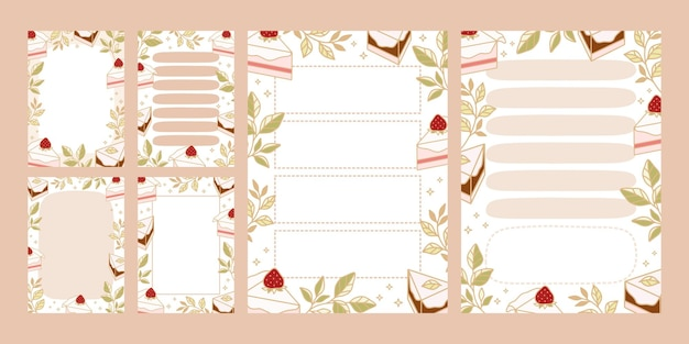 Set di stampabili per fare la lista, pianificatore quotidiano, modelli di blocco note con torta disegnata a mano e elementi di fragola
