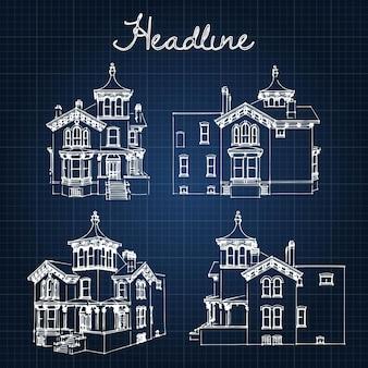 Imposta casa di città privata della fine del xix e dell'inizio del xx secolo. illustrazione di uno schizzo nel manuale di stile.