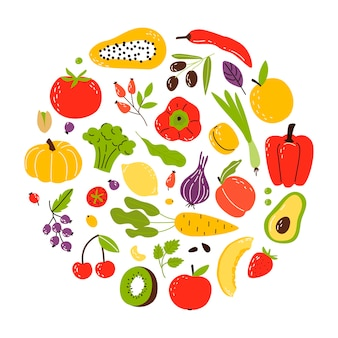 Un insieme di prodotti in un cerchio, cibo sano. frutta, verdura e noci. piatto del fumetto