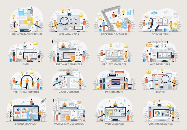 Set di scene di lavoro del programmatore software engineer ui ux e graphic designer