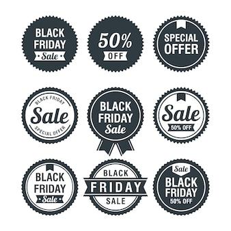 Set di badge di vendita venerdì nero di promozione