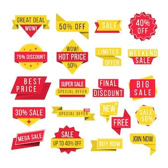 Set di badge promozionali e tag di vendita, design moderno per sito web e pubblicità. grande vendita, nuova offerta e miglior prezzo, sconto per banner di eventi promozionali.