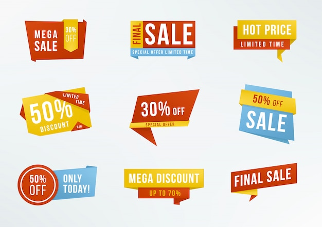 Set di etichette promozionali con scritte in vendita, sconto. distintivi pubblicitari di raccolta.