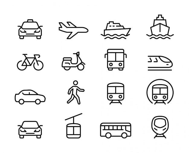Set di icone di linea sottile di trasporto pubblico