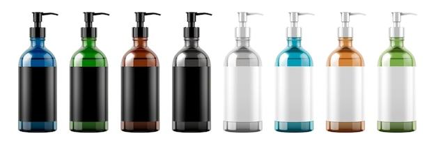 Set di bottiglie a pompa con etichette vuote su sfondo bianco