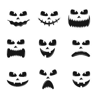 L'insieme della zucca affronta le icone della siluetta per halloween isolate su bianco. sorriso spaventoso del diavolo della zucca, jack spettrale o lanterna. illustrazione vettoriale in stile piatto