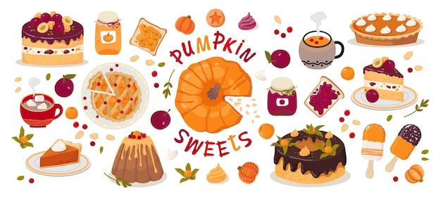 Set di dolci di zucca.