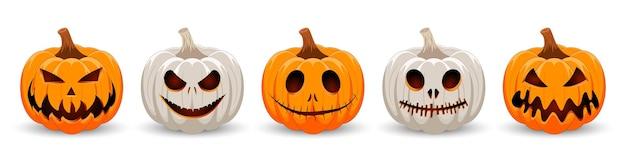 Impostare la zucca su sfondo bianco il simbolo principale della festa di happy halloween