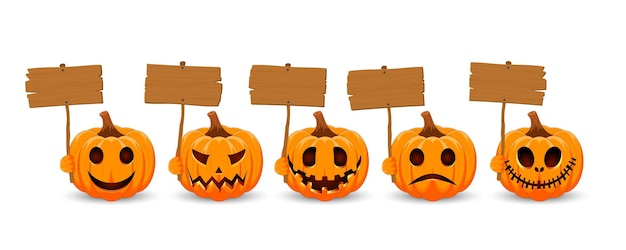 Impostare la zucca su sfondo biancozucca arancione con assi di legno e sorriso