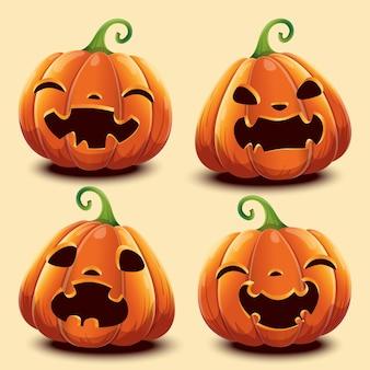 Set di zucche con facce diverse per halloween. illustrazione vettoriale. isolato.