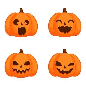 Set di zucche con facce buffe per halloween su sfondo bianco