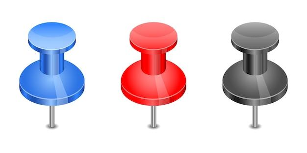 Set di push pin isolato su bianco