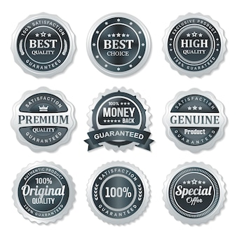 Set di etichette badge di qualità e garanzia