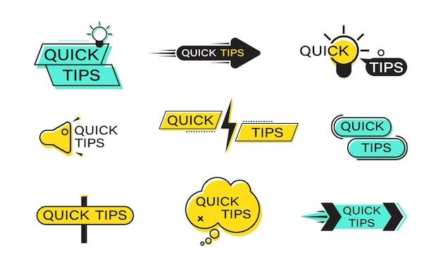 Set di banner di punta rapida. suggerimenti rapidi etichette piatte