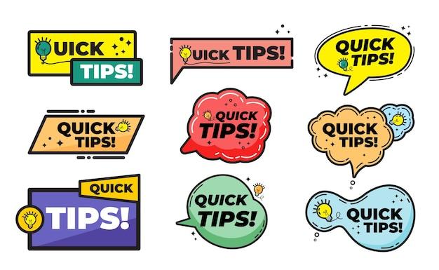 Set di suggerimenti rapidi, trucchi utili, tooltip, suggerimenti per il sito web