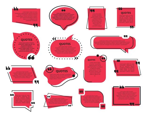 Set di citazione bolle modello piatto