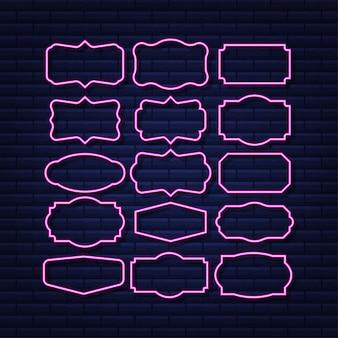 Impostare le cornici delle citazioni modello vuoto con le citazioni di progettazione delle informazioni di stampa icona al neon
