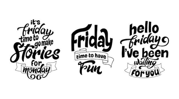 Set di citazioni sul fine settimana in stile lettering disegnato a mano. lettere moderne dipinte a pennello. fase di ispirazione per overlay, card, poster. illustrazione vettoriale.
