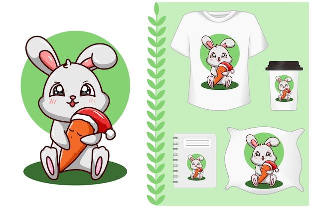 Insieme, coniglio abbraccia la carota che indossa il cappello di natale