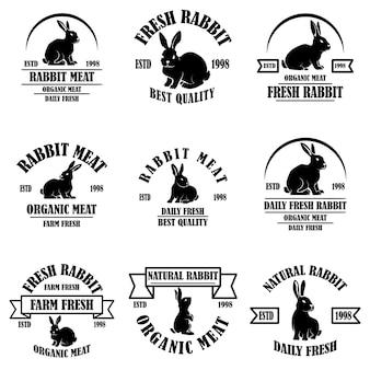 Set di emblemi di carne di coniglio. elemento di design per logo, etichetta, segno, banner, poster.