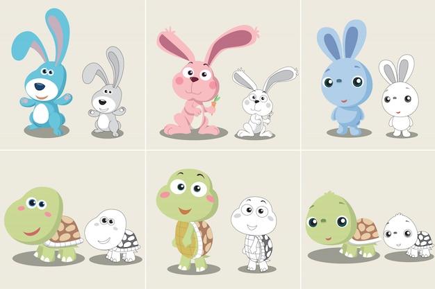 Set di cartoon tartaruga coniglio