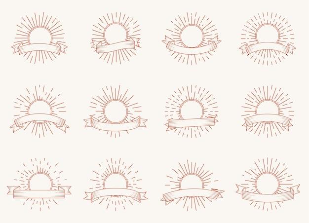 Insieme dello sprazzo di sole radiante rotondo con il nastro. cornice di raggi di luce stile hipster per retrò
