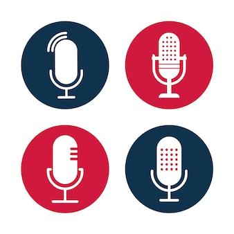 Set di illustrazioni di icone radio collezione di microfoni da tavolo studio