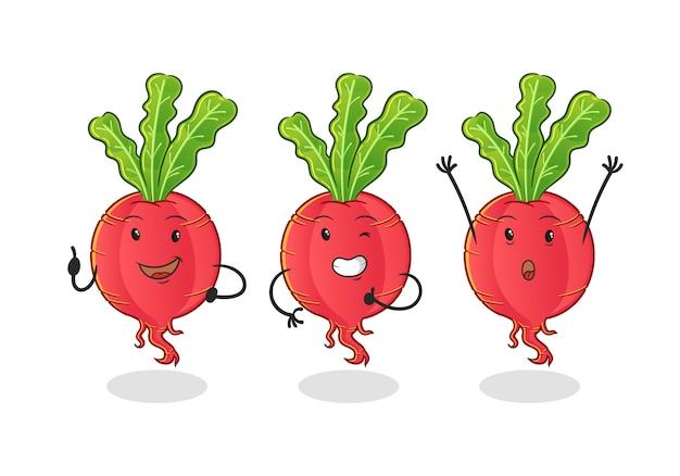 Set di ravanelli simpatico personaggio dei cartoni animati