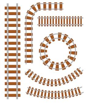 Insieme di elementi di costruzione di binari ferroviari e ferroviari. binario ferroviario rettilineo e curvo. struttura della pista per il traffico dei treni. illustrazione su sfondo bianco